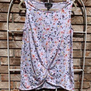NWOT Floral Scrunch Front Shirt